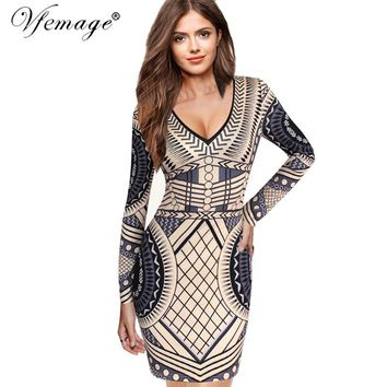 Vfemage Sexy V Neck Geometry Slim High Waist Women Girl Ladies Fashion Cool Chic Party Club Casual Bodycon Mini Short Dress 4356