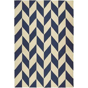 Couristan Covington Herringbone Rug In Navy-Ivory