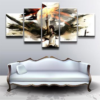 Cool Attack on Titan Modular Canvas Paintings Wall Art Home Room Decor 5 Pieces Mikasa Ackerman Anime  Pictures HD Printed Poster AT_90_11