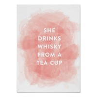 She Drinks Whiskey Watercolor Print