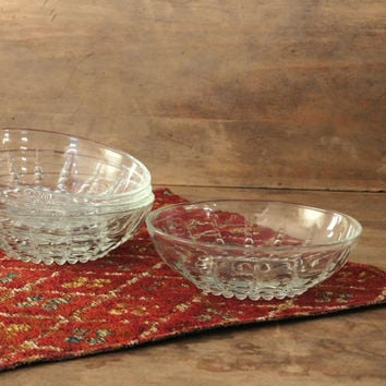 Glass Berry Bowls, Cereal Bowls, Federal Glass Columbia Clear, Set of 4 Dessert Dishes