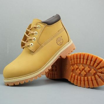 Timberland Leather Lace-Up Boot Low Yellow Dark Brown