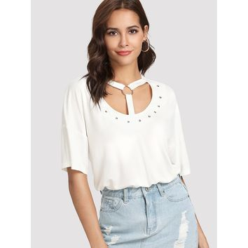 Beaded Embellished Cut Out Neck Tee