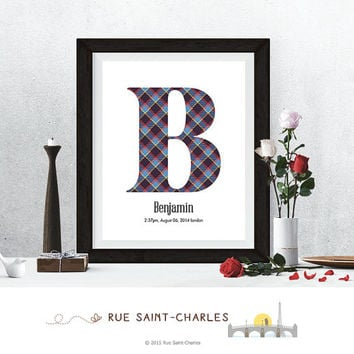 baby boy nursery art, monogram logo, personalized baby gift, baby initial art print, DIY printable art, home decor, nursery decor, wall art