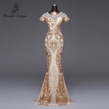 Poems Songs 2018 Elegant Short sleeves Evening Dress vestido de festa Sexy Backless  Gold Sequin Formal party dress prom gowns