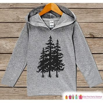 Outdoors Adventure Shirt - Tree Silhouette Hoodie - Kids Camping Shirt - Hiking, Nature Gift Idea - Grey Pullover - Toddler, Kids Hoodie