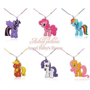 20PCS My Little Ponies Pendant Chains Necklaces Torques Chokers Necklace Gift,Party Gifts,Children Favor Travel Accessories