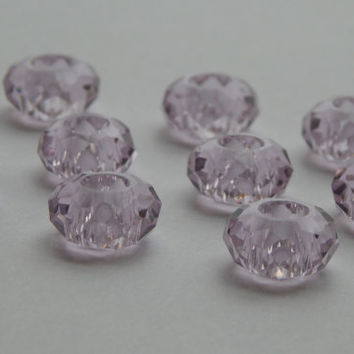 ON SALE 10 Pieces of 14mm Large Hole Glass Beads - European Style, Faceted, Rondelle, Light Pink Color, Add a Bead, 5mm Hole Size