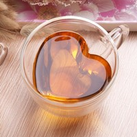 240ml Heart Double Wall Clear Transparent Glass Tea Cup Coffee Mug Gift