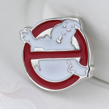 fashion jewelry Ghostbusters Brooch Silver Red White Halloween Ghost Ghostbusters Logo Enamel Pin Badge Brooches and Pins