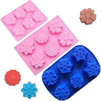 Popro 3pcs 6-Cavity Silicone Muffin Cups Handmade Soap Molds Biscuit Chocolate Ice Cake Baking Mold Cake Pan, Large Flower & Snowflakes & Cat Paw Print Shapes