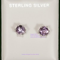Round Cut Light Amethyst Stud Earrings Sterling Silver Setting Posts
