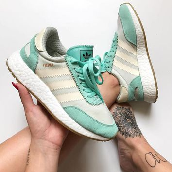 adidas iniki runner boost mint green beige fashion trending running sports shoes sneakers
