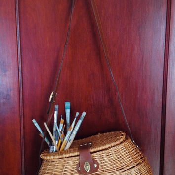 Woven Wicker Creel Fishing Basket with Adjustable Leather Strap