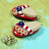 Flip Flop CHARMS Handmade from Polymer Clay