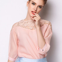 Pink Half Sleeve Lace Organza Blouse