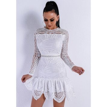 White Geometric Sequin Dress
