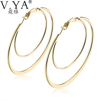 V.YA Vintage Newly Big Circle Earrings for Women Steampunk Ear Clip Party Jewelry Earrings Accessories Gifts Female Charm Sets