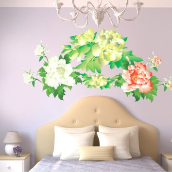 Peony household wall stick wall stickers can remove PVC transparent film on the wall SM6