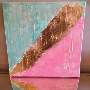Original abstract painting pink turquoise white pearl and gold leaf 12x12