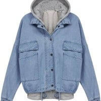 Sheinside Blue Hooded Long Sleeve Drawstring Denim Outerwear Jacket
