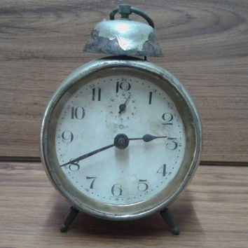 "Rare ANTIQUE KIENZLE GERMAN Alarm Clock  1930's,  Vintage German ""Kienzle"" Bell Alarm Clock"