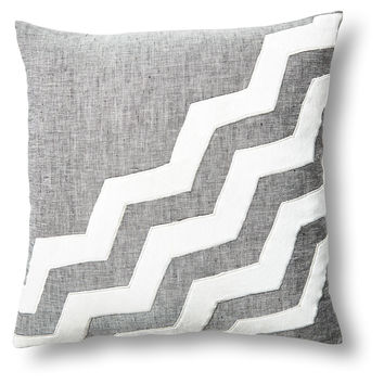 Chevron 18x18 Linen/Velvet Pillow, Gray, Decorative Pillows
