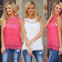 Fashion Women Summer Vest Top Sleeveless Blouse Casual Tank Tops T-Shirt Lace = 1956800836