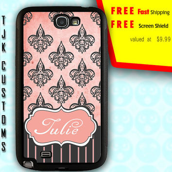 Note 2 Damask Case Note 2 Case Note 2 Custom Monogram Case Note 2 Vintage Fleur De Lis Case Rubber w/ Metal