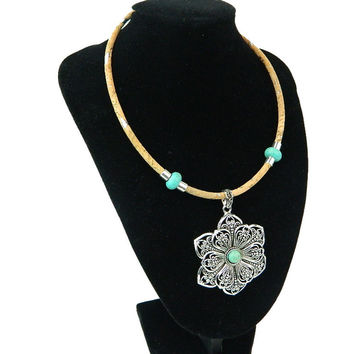 Portuguese natural cork,Turquoise and cork  flower necklace, handmade, original, natural, soft, eco-friendly materials jewelry