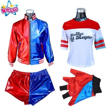 Movie Suicide Squad Harley Quinn Cosplay Costumes Halloween Set Clothes 16 Accessories Short Jacket T-shirt Gloves Wristguards