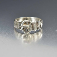Antique Bark Texture Sterling Silver Buckle Ring