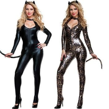 2017 Black Cat Costume Sexy Costume Leopard Animal Cosplay Woman Halloween Black Cat Women Leotards Sexy Costume