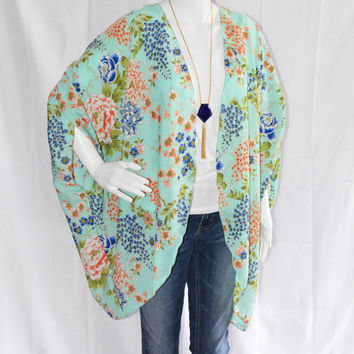 Mint Floral Kimono Cardigan/ Modern Kimono Jacket/ Colorful Lightweight Wrap/ Boho Clothing/ Layering Cardigan/  Beach Cover up