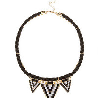 Black Aztec Tile Triple Triangle Necklace