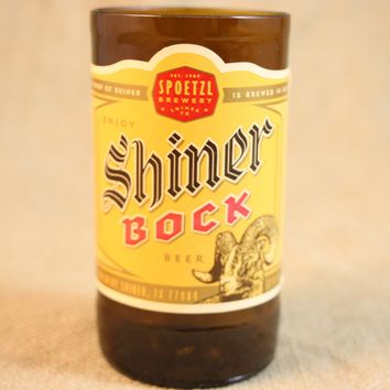 Drinking Glasses from Recycled Shiner Bock Beer Bottles, 8 oz, Unique Barware, Unique Gift, ONE glass
