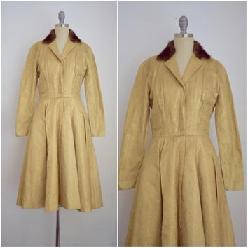 Vintage 1960s Estevez Goldlame Brodcade Coat Dress