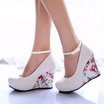 Fashion Ankle Strap 2016 High Wedges Platform Summer Pumps