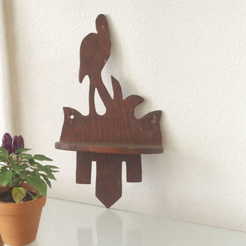 vintage wall sconce / bird wall sconces / wooden wall sconces / small wooden shelf / small black shelf / stork wooden shelf / carved shelf