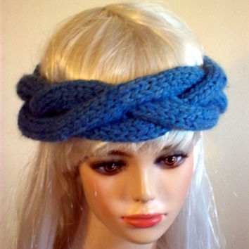 Hand Knit Headband Blue
