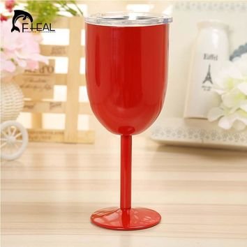 FHEAL 2017 new 10oz Wine Glass 304 Stainless Steel Double Wall Insulated Metal Goblet With Lid Rambler Colster Tumbler Wine Mugs