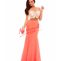 Strapless Two Piece Neon Coral Dress