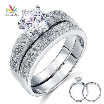 Peacock Star Vintage Style 1.25 Ct Solitaire Sterling 925 Silver 2-Pc Wedding Engagement Ring Bridal Set CFR8096