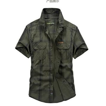 Hiking Shirt camping Hot sale Outdoor Large size M~5XL Men Shirts Short sleeve Chemise Homme 100% Cotton Sports Camping Climbing Tactics Army shirts KO_17_1