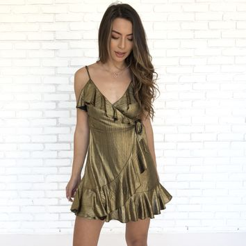 Gold Foiled Ruffle Dress