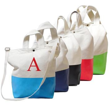 Personalized Aqua Color Dipped Canvas Tote Bag