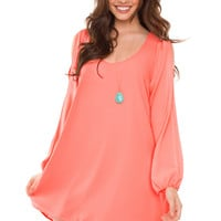 Alanna Shift Dress - Neon Coral