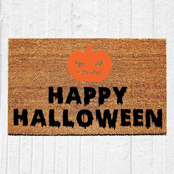 "Happy Halloween Doormat | Welcome Mat | Halloween Door Mat | Halloween Decor | Spooky Decor | Fall Decor | Outdoor Rug | 18""x30"" 
