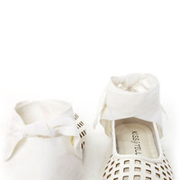 Jaclyn 11 White Ankle Cuff Cutout Flats