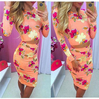 Long Sleeve Floral Two-Piece Set